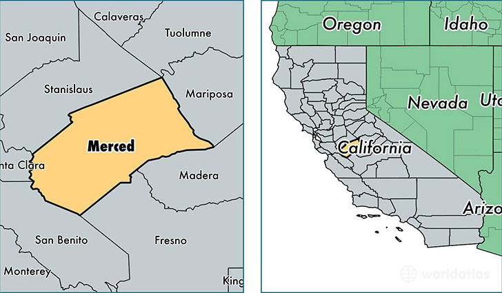 location of Merced county on a map