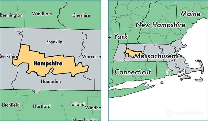 location of Hampshire county on a map