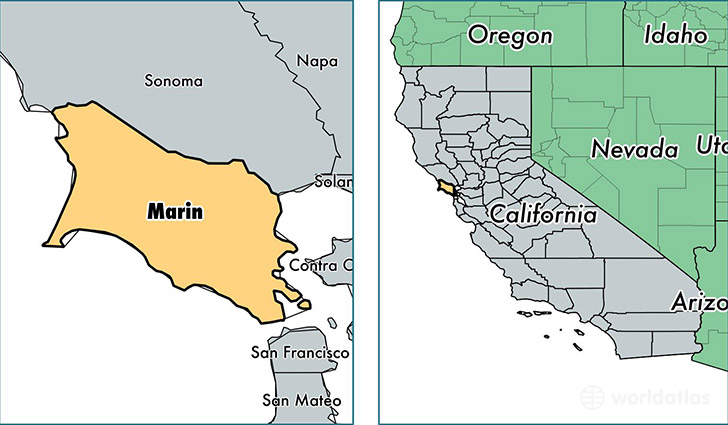 location of Marin county on a map