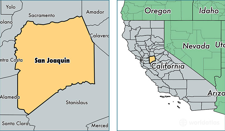 location of San Joaquin county on a map