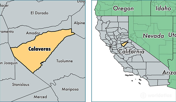 location of Calaveras county on a map