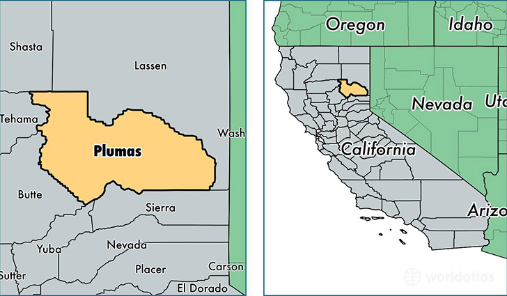 location of Plumas county on a map