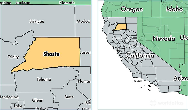 location of Shasta county on a map