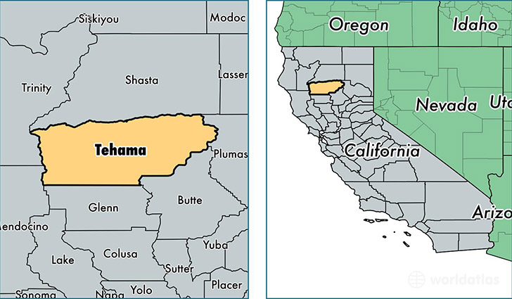 location of Tehama county on a map