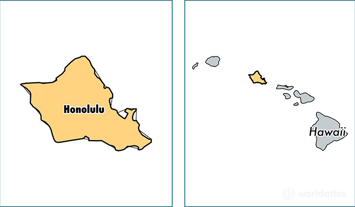 location of Honolulu county on a map