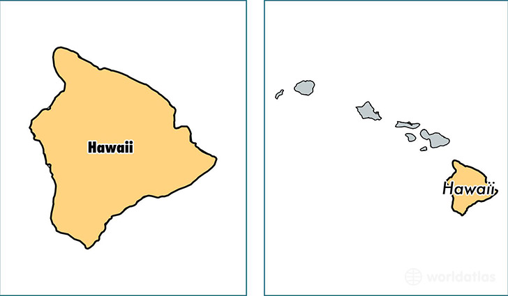 location of Hawaii county on a map