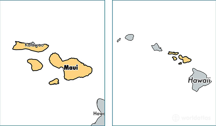 location of Maui county on a map
