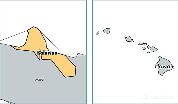 location of Kalawao county on a map