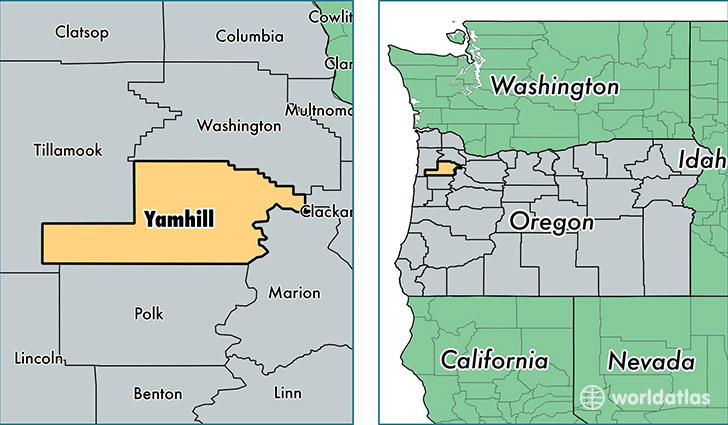 location of Yamhill county on a map