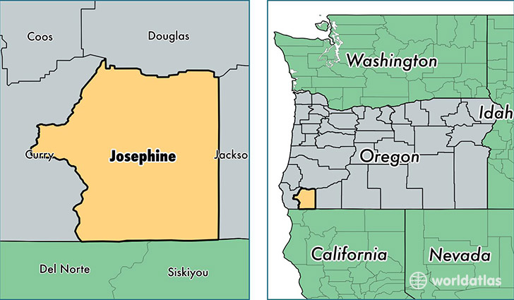location of Josephine county on a map