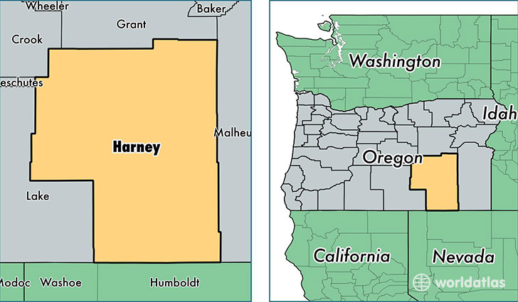 location of Harney county on a map