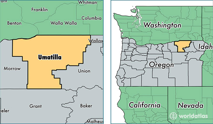 location of Umatilla county on a map