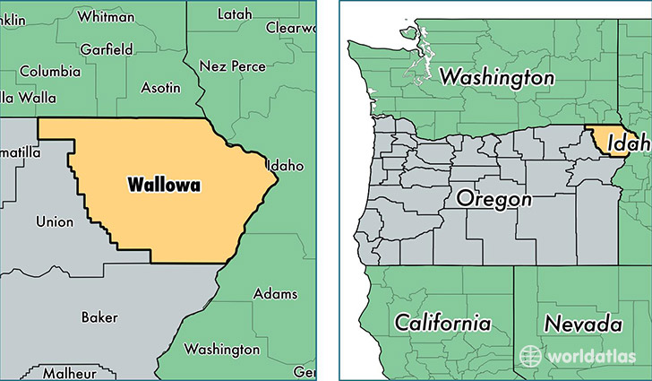 location of Wallowa county on a map