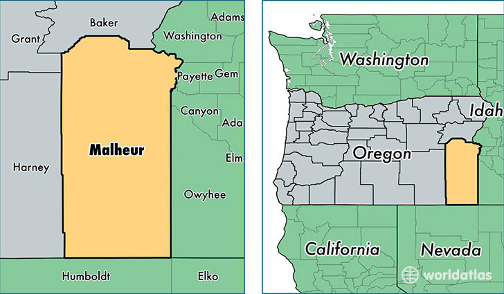 location of Malheur county on a map