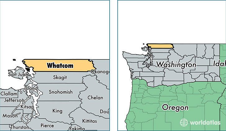 location of Whatcom county on a map
