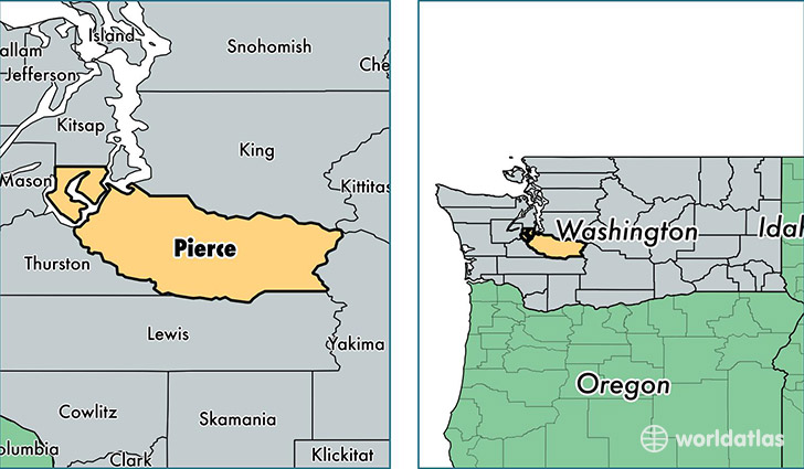 location of Pierce county on a map