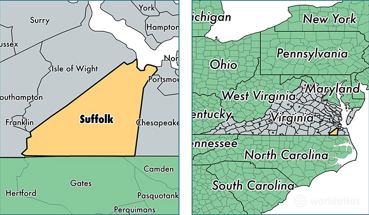 location of suffolk city county on a map