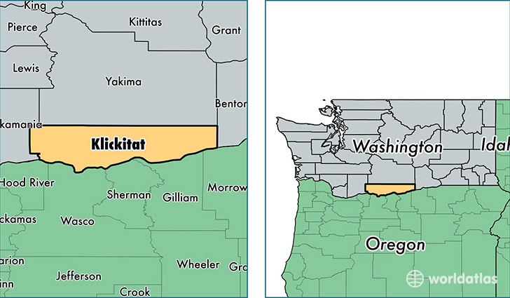 location of Klickitat county on a map
