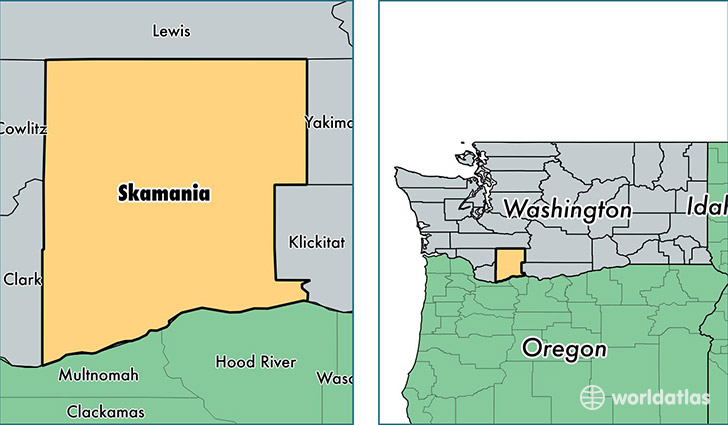 location of Skamania county on a map