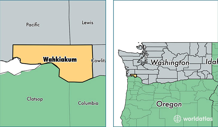 location of Wahkiakum county on a map