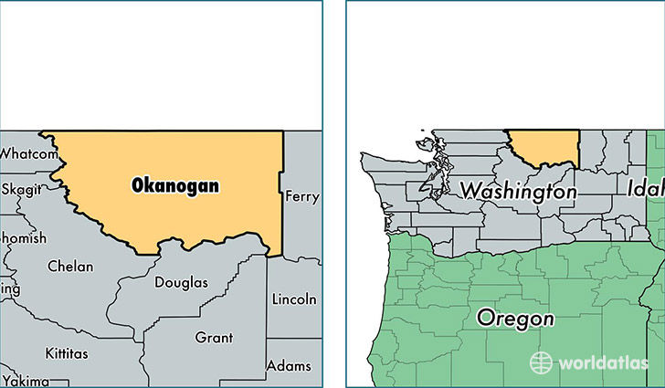 location of Okanogan county on a map