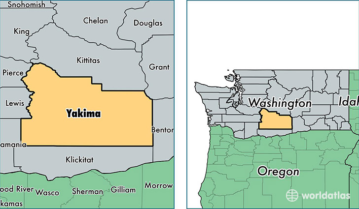 location of Yakima county on a map