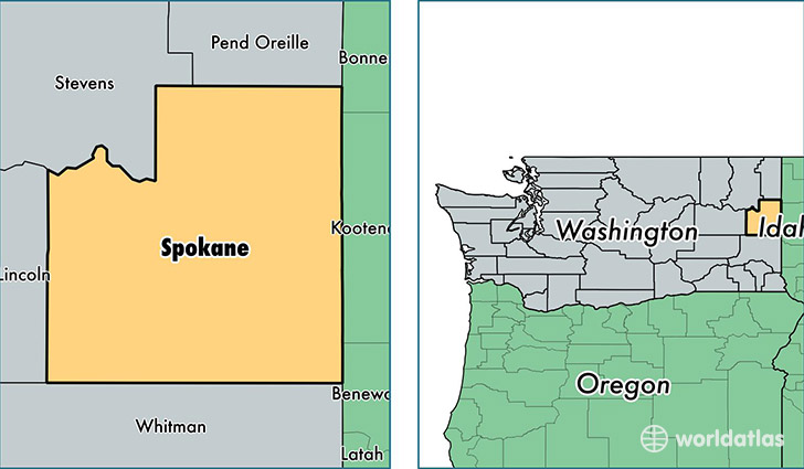 location of Spokane county on a map