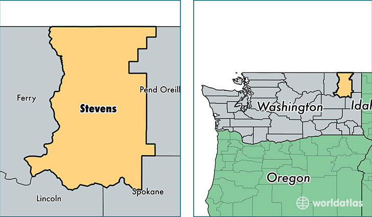 location of Stevens county on a map