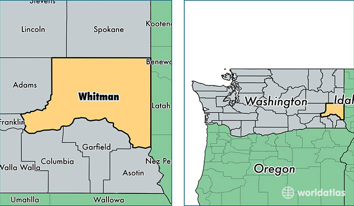location of Whitman county on a map