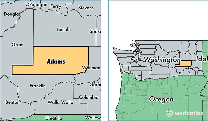 location of Adams county on a map