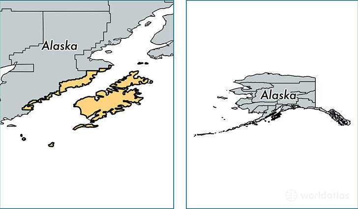 location of Kodiak Island county on a map