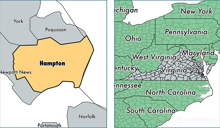 location of Hampton City county on a map