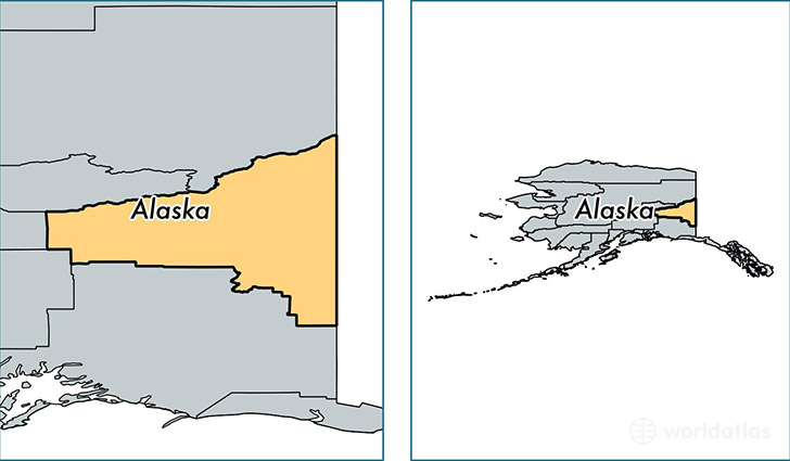 location of Southeast Fairbanks county on a map