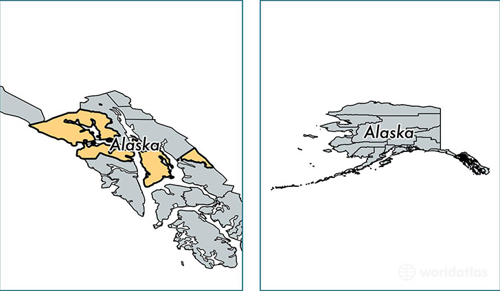 location of Hoonah Angoon county on a map