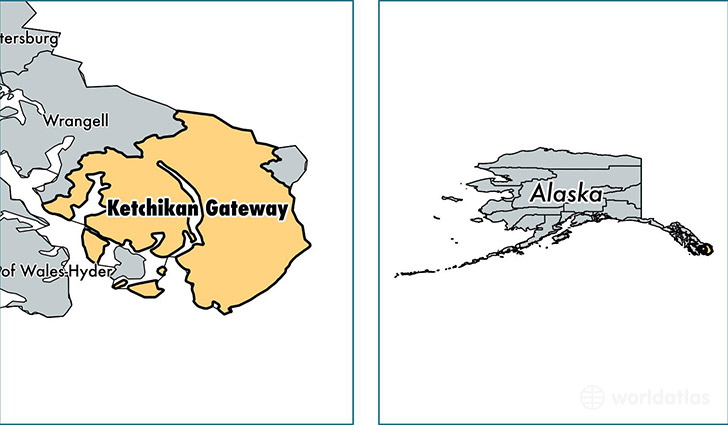 location of Ketchikan Gateway county on a map