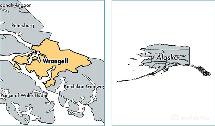 location of Wrangell county on a map