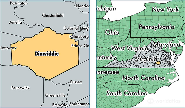 location of Dinwiddie county on a map