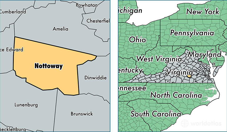 location of Nottoway county on a map
