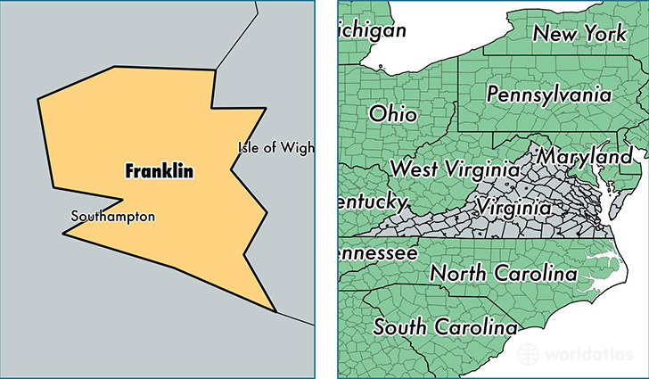location of Franklin City county on a map