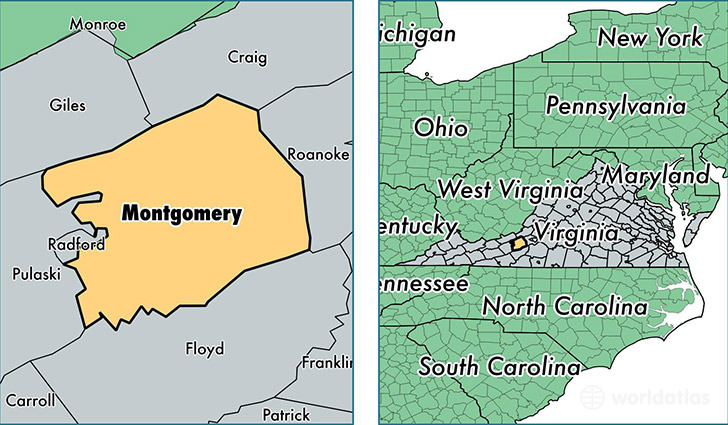 location of Montgomery county on a map