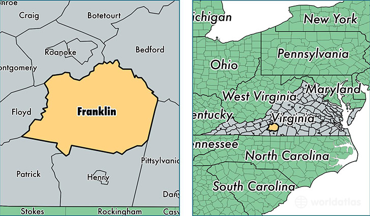 Franklin County Virginia Map Of Franklin County VA Where Is - Franklin on us map