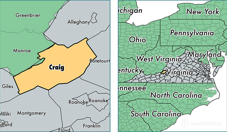location of Craig county on a map