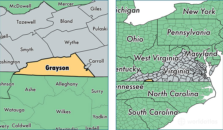 location of Grayson county on a map