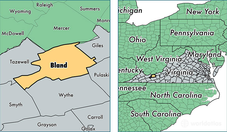 location of Bland county on a map