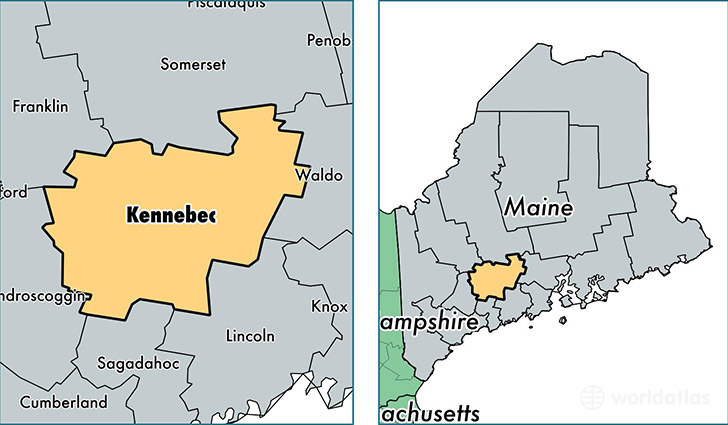 location of Kennebec county on a map