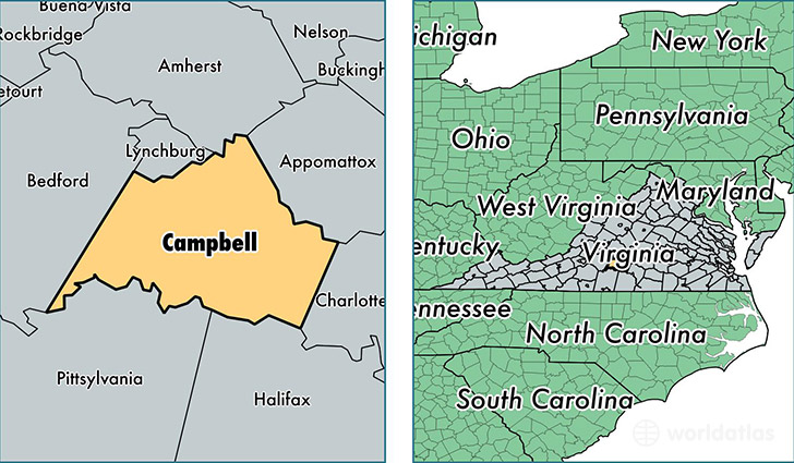 location of Campbell county on a map