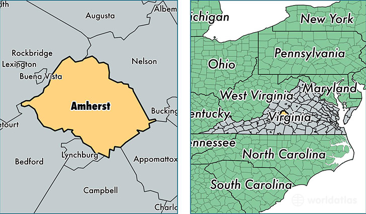 location of Amherst county on a map