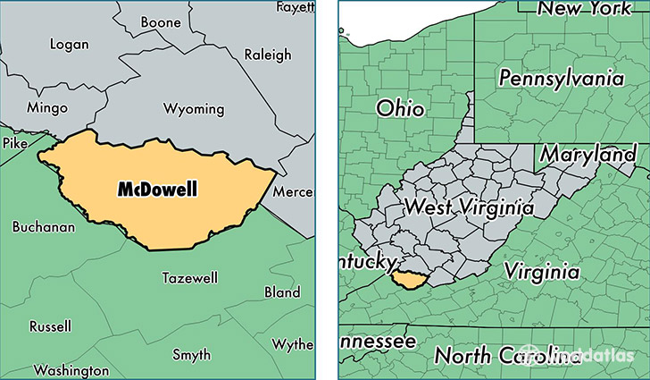 location of McDowell county on a map