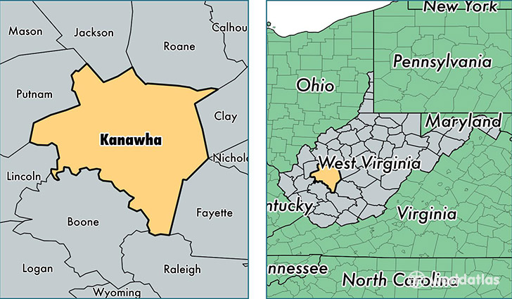 location of Kanawha county on a map