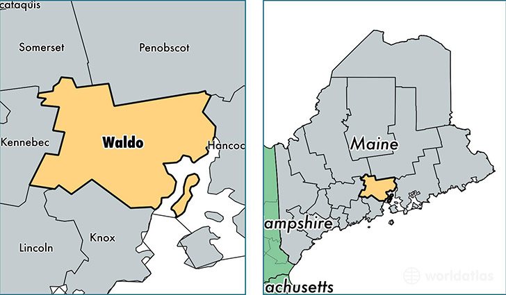 location of Waldo county on a map